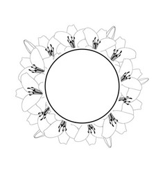 Lily wreath banner outline vector