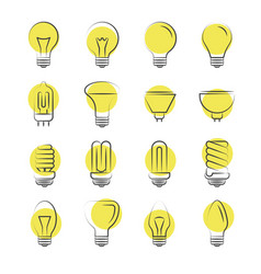 Line light bulbs icons on white background vector