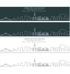 Mecca single line skyline banner vector
