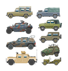 Military vehicle army car and armored truck vector