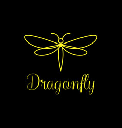 minimalist and luxury dragonfly logo design line vector image