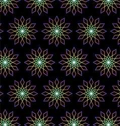 Modern Bloom and Rhomboid Pattern on Black vector image