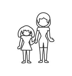 Mom with daughter family outline vector