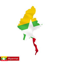 Myanmar map with waving flag country vector