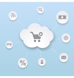 Online Shopping Concept with Cloud money vector image