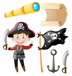 Pirate and pirate elements set vector