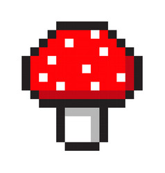 Pixel art amanita mushroom cartoon retro game vector