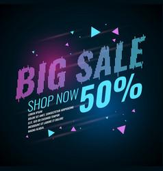 poster big sale retro 90s vector image