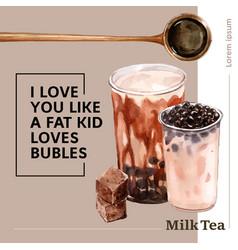Premium bubble milk tea ad content modern vector