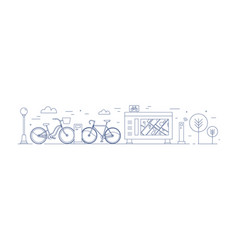 Public bike sharing zone with bicycles available vector
