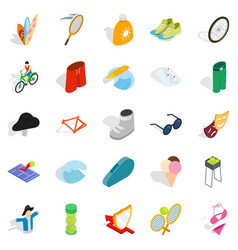 recreation park icons set isometric style vector image