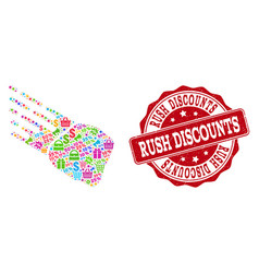 rush discounts composition of mosaic and distress vector image