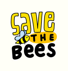 save bees banner with typography and insect vector image