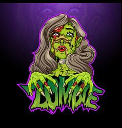 Scary zombie female cartoon head vector