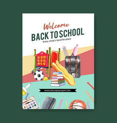 School poster design with toy lob ball watercolor vector
