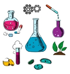 Science research and experiment elements vector image