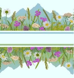 seamless horizon border with greenery and vector image