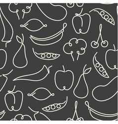 Seamless pattern made of one line fruits vector image