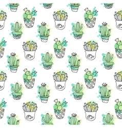 Seamless pattern with cactus Colorful vector image