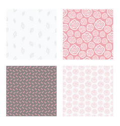 seamless patterns with flowers and leaves vector image
