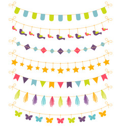 set colorful garlands vector image