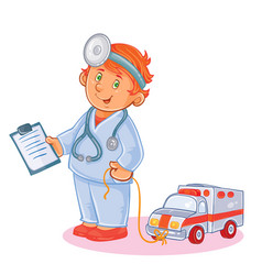 Set icons of small child doctor and his toy vector