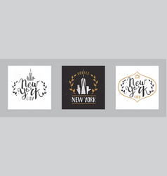 set new york city template hand drawn calligraphy vector image