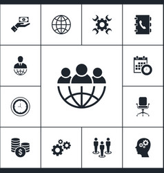 set of business icons simple marketing elements vector image
