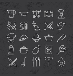 Set of clean line icons featuring various kitchen vector