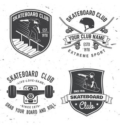set skateboard club badges vector image