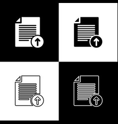 set upload file icons isolated on black and white vector image