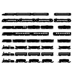 silhouettes of trains and locomotives vector image