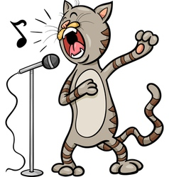 Singing cat cartoon vector