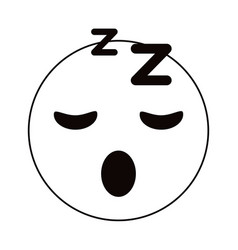 sleepy emoticon funny thin line vector image