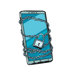 Smartphone chain lock locked gadget isolated on vector