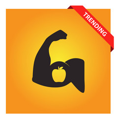 Strong arm with apple icon vector