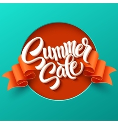 Summer Sale lettering Ribbon background vector image