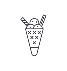 tasty ice cream line icon concept tasty ice cream vector image