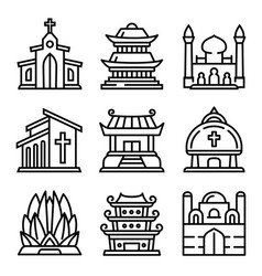 Temple icons set outline style vector