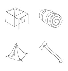 Tent with awning ax and other accessoriestent vector