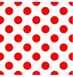 Tile pattern with big red polka dots on white vector