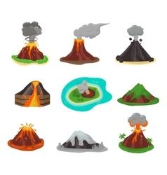 Volcano set vector