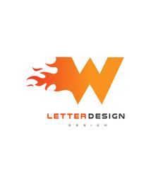 W letter flame logo design fire logo lettering vector