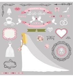 Wedding bridal shower decor setBride invitation vector