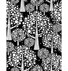 Winter forest seamless background black and white vector