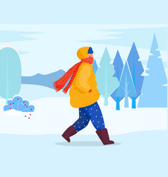 Woman walk alone winter forest with snowy trees vector