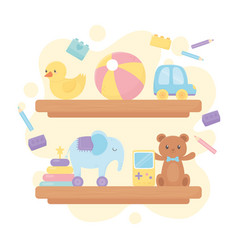 wooden shelves with bear ball duck car elephant vector image
