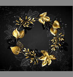 wreath golden leaves and branches vector image