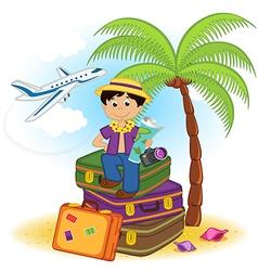Boy arrived on summer holiday on sea vector