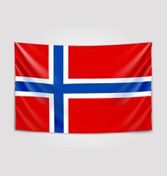 hanging flag of norway kingdom of norway vector image